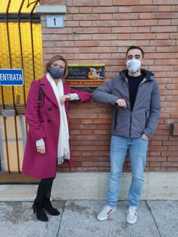 Simona Arletti, presidente di Abitcoop, e Andrea Zoboli, assessore alla Cultura del Comune di Nonantola